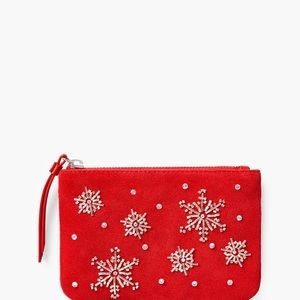 SNOWFLAKES EMBELLISHED ZIP TOP RED SUEDE POUCH